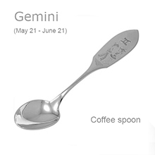 Silver Souvenir Coffee Spoon. Gemini Zodiac (May 21-June 21)