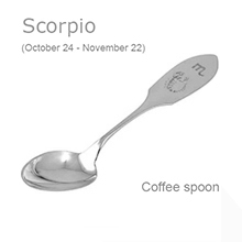 Silver Gift Coffee Spoon With Scorpio Zodiac Sign (October 24 - November 22)