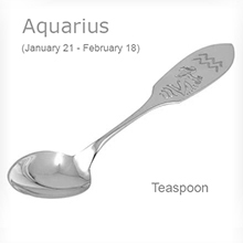 Silver Gift Teaspoon With Aquarius Zodiac Sign (January 21 - February 18)