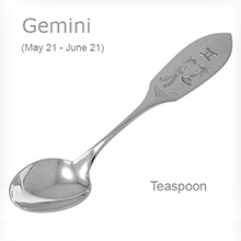 'Gemini' Silver Teaspoon. (May 21 - June 21)