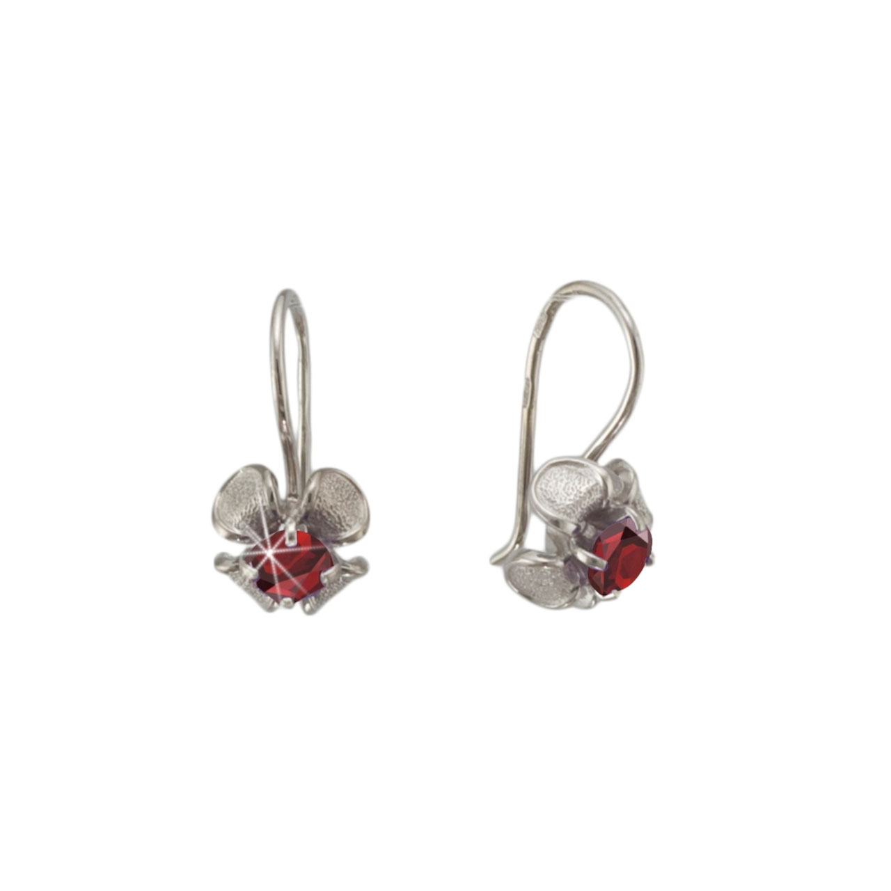 Silver Iris Flower Earrings: A Garnet Stigma