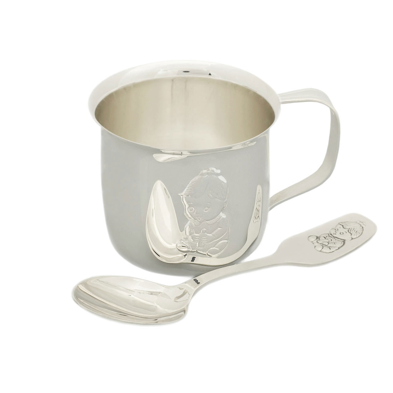 baby silver spoons and silver tankards silver cup and silver
