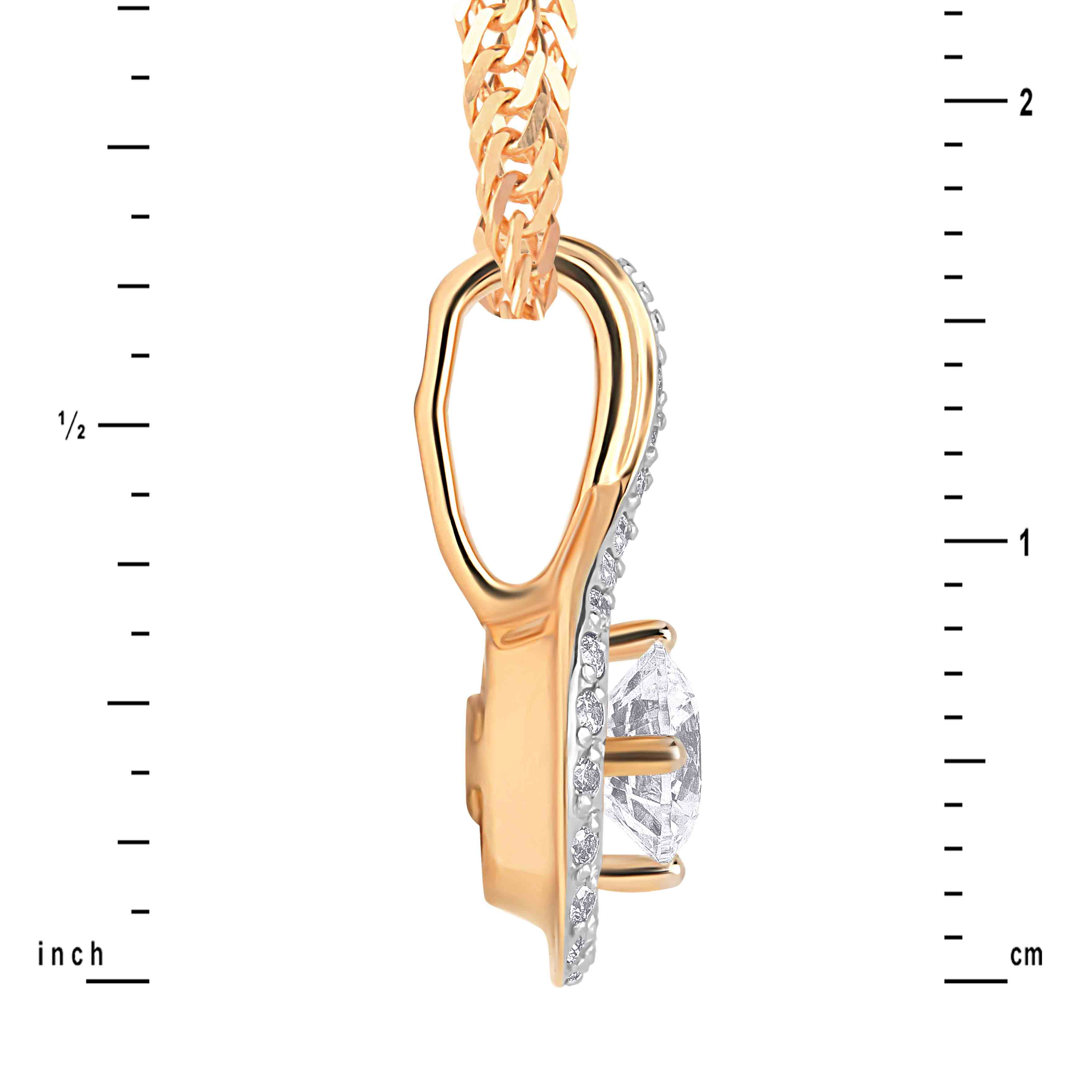 CZ Rose Gold Pendant Height. View 3