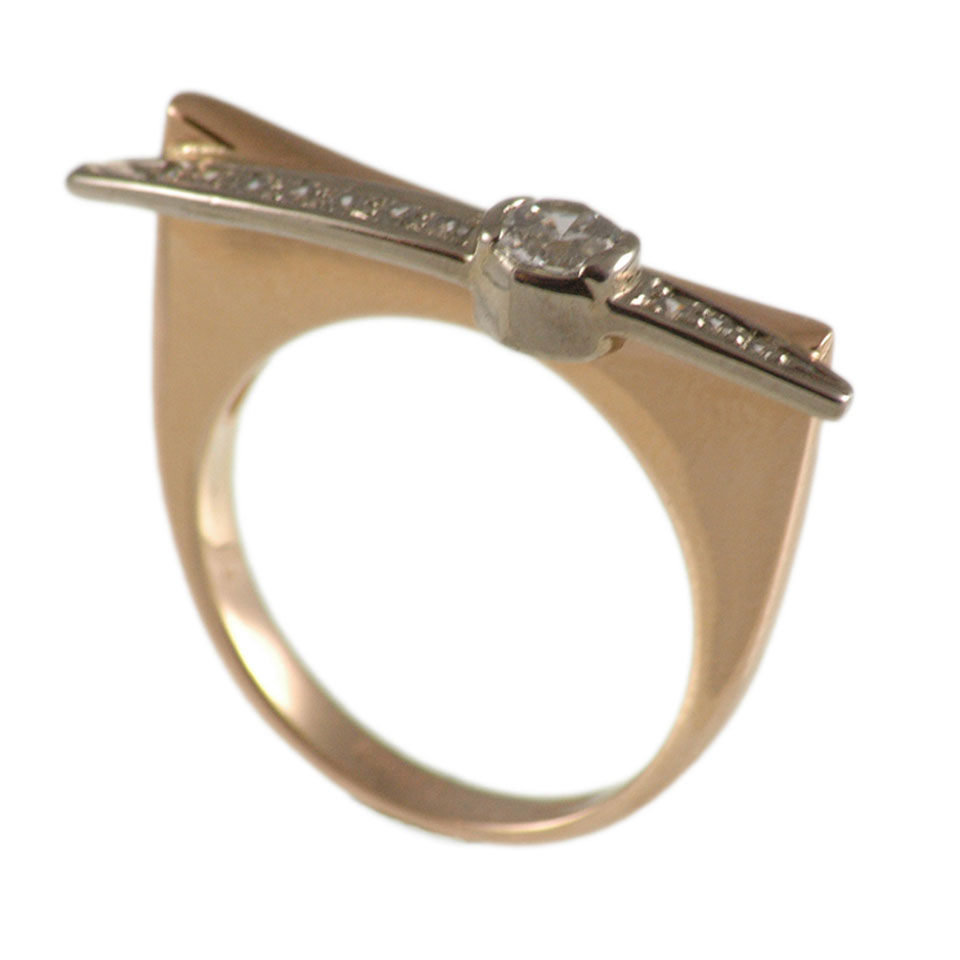 Cz rose and white gold ring 3