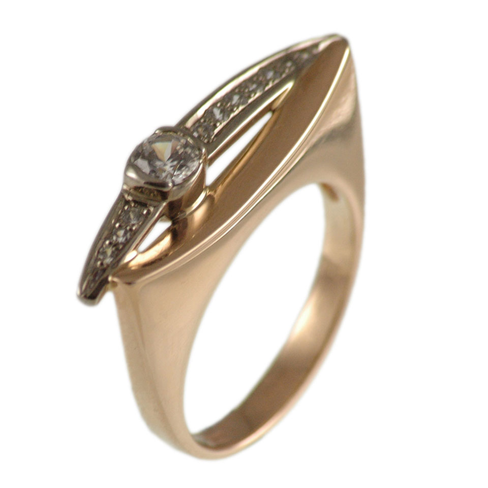 Cz rose and white gold ring 1