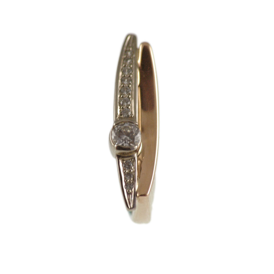 Cz rose and white gold ring 2