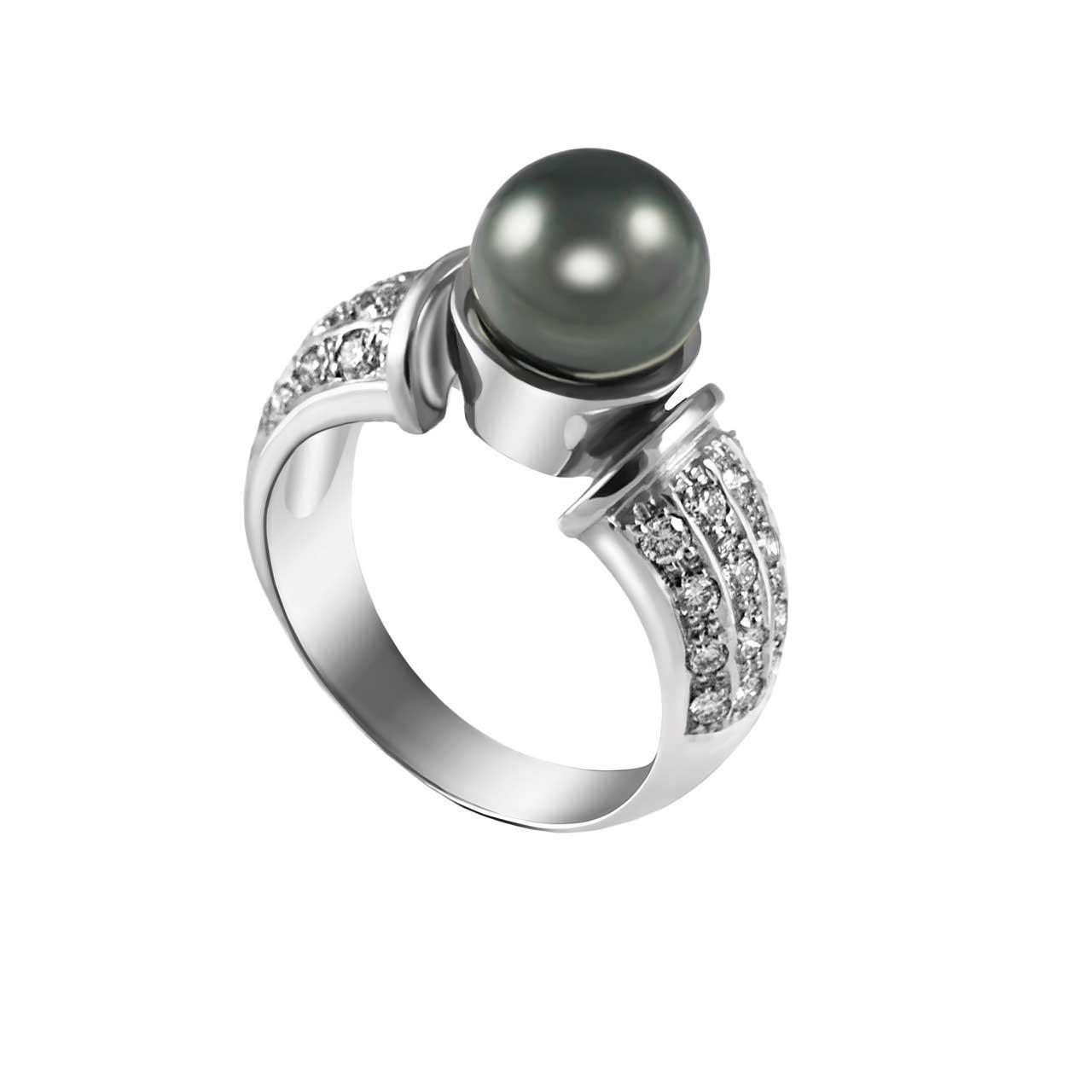 Tahitian Black Pearl and Diamond 14kt White Gold Ring. View 3