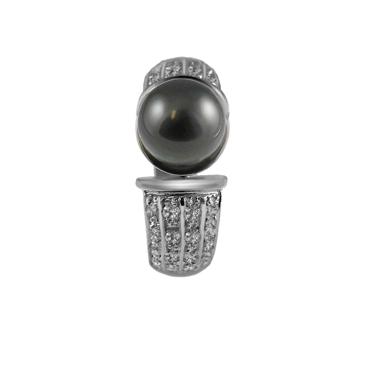 Tahitian Black Pearl and Diamond 14kt White Gold Ring. View 4