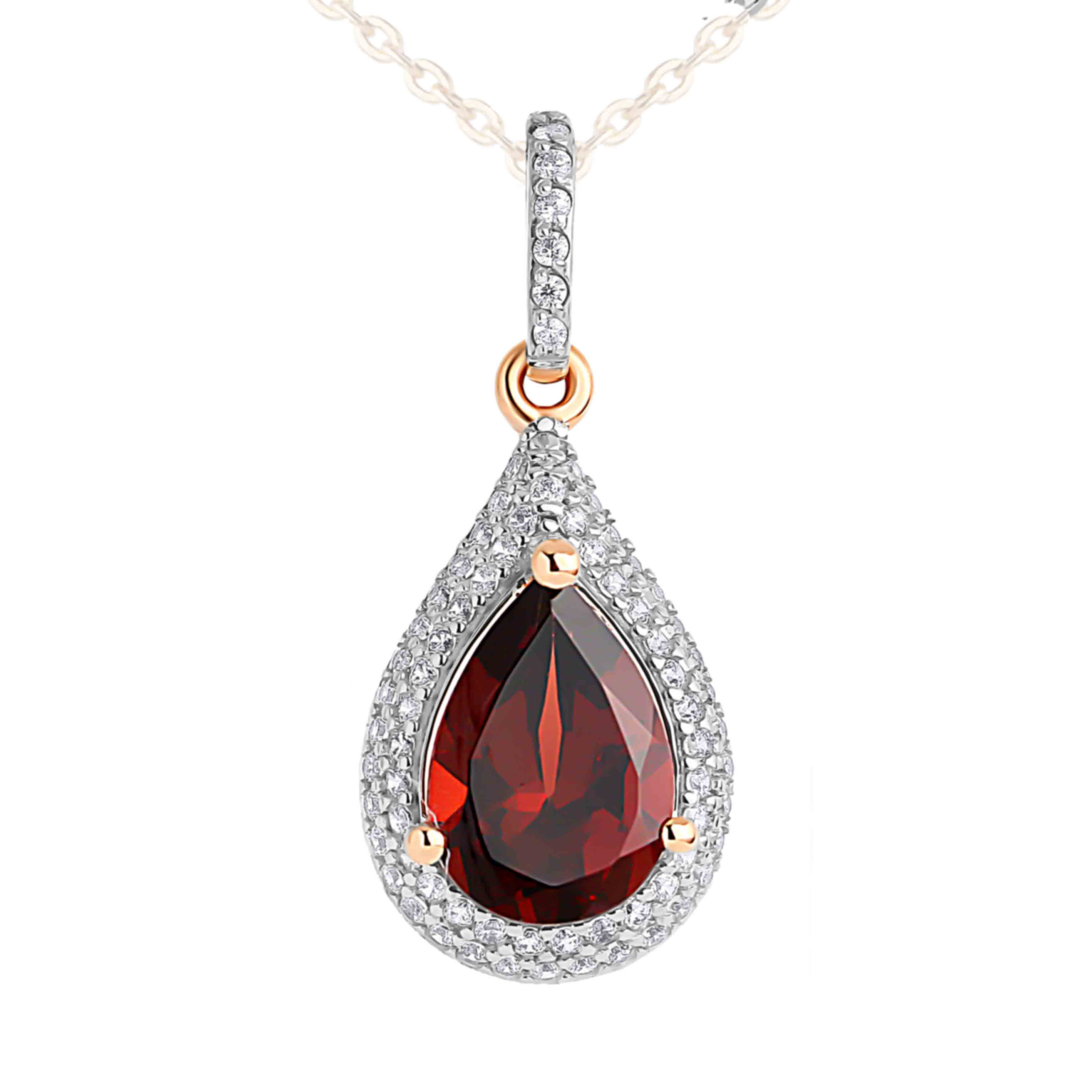 Garnet and CZ Teardrop-shaped Pendant