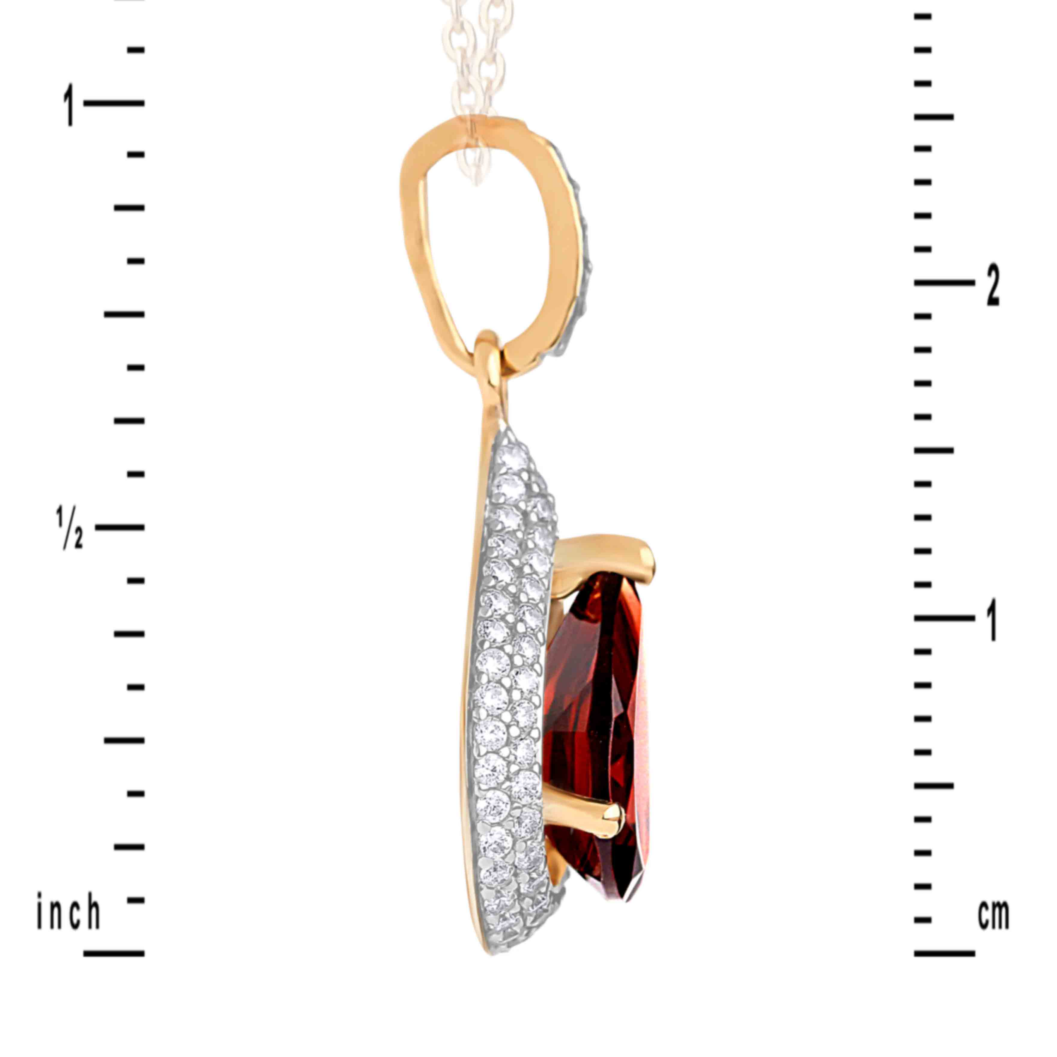 Garnet and CZ Teardrop-shaped Pendant in 585 Rose Gold. View 3