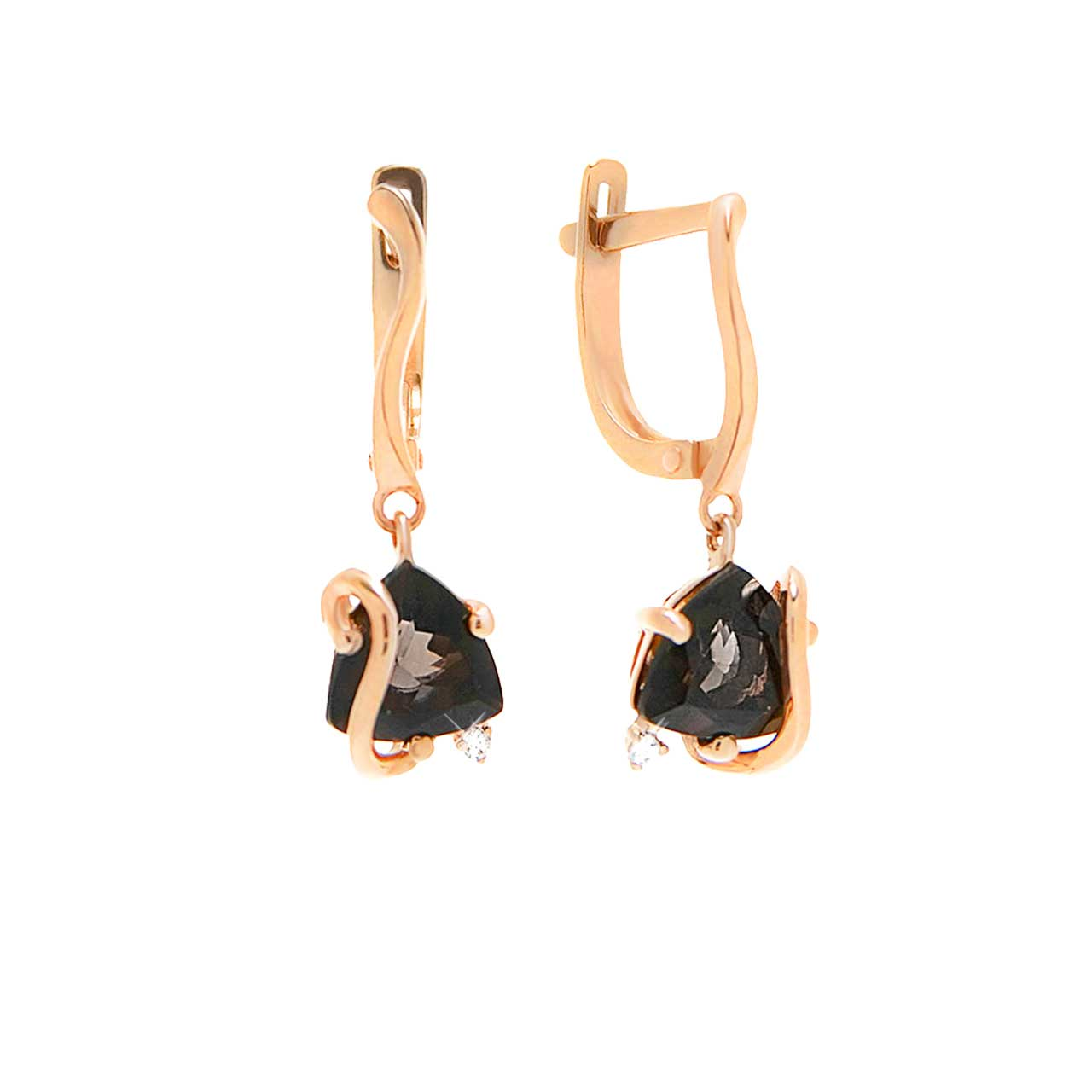 Rauh Topaz and CZ Dangle Earrings