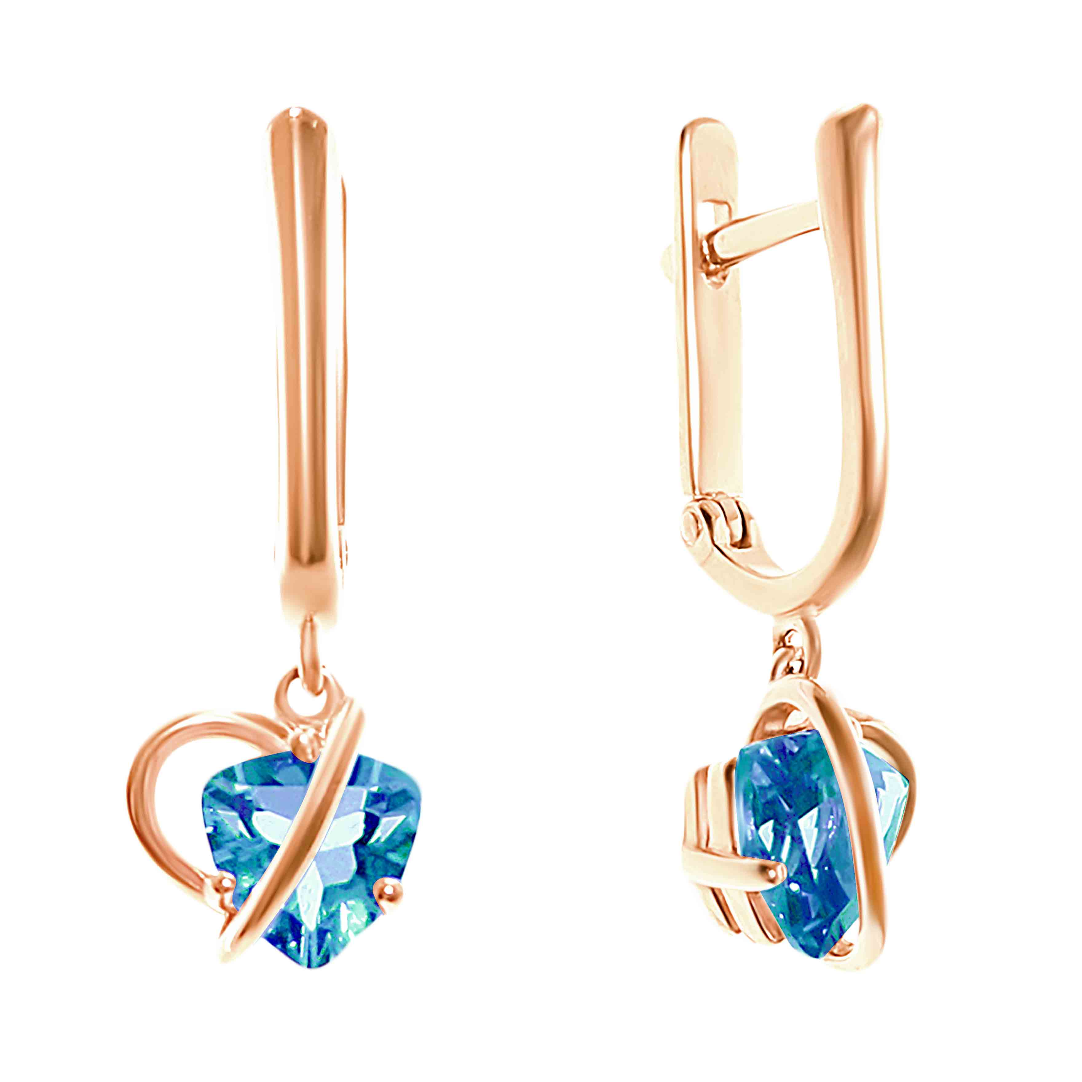 Trillion-shaped Blue Topaz Earrings