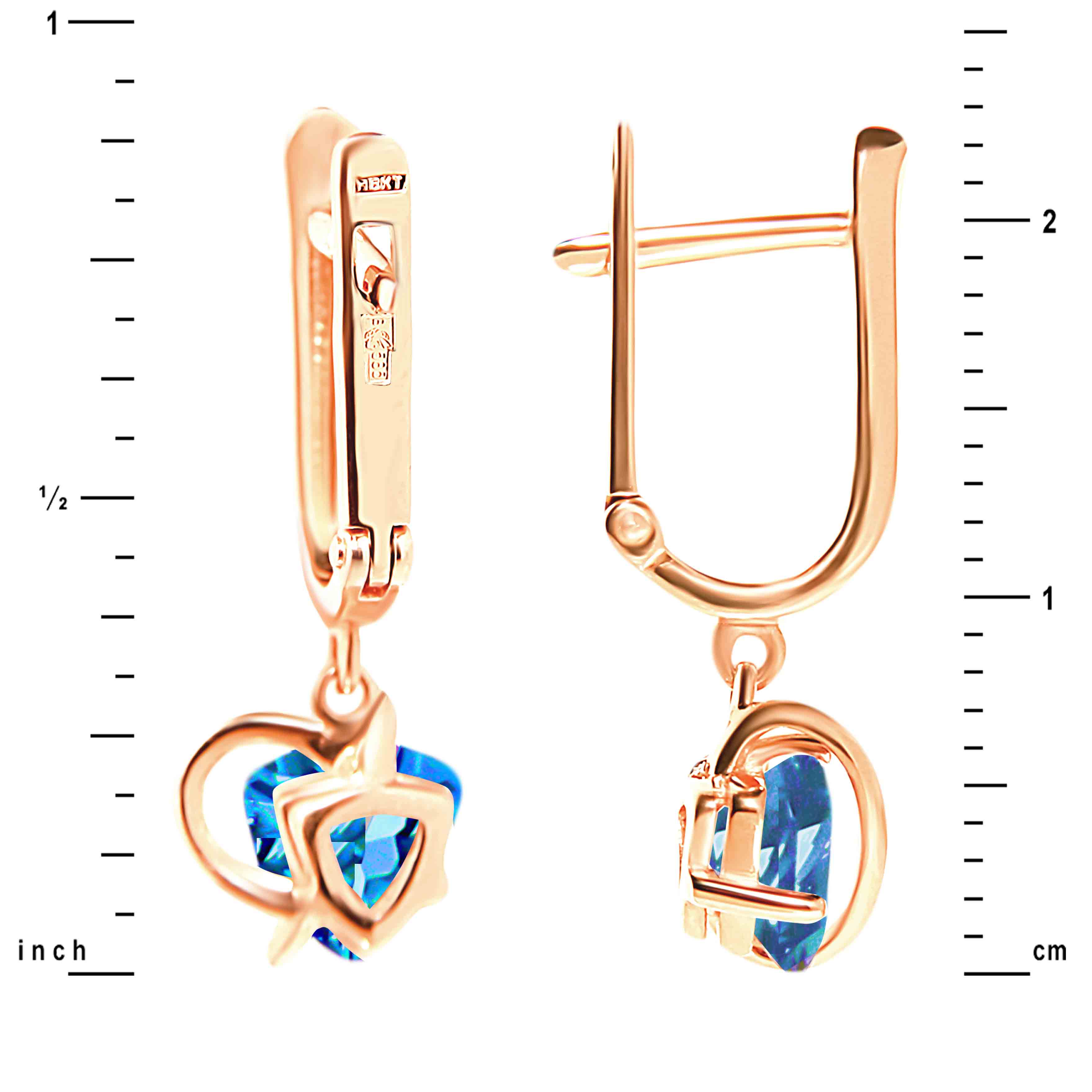 Trillion-shaped Blue Topaz Earrings. View 2