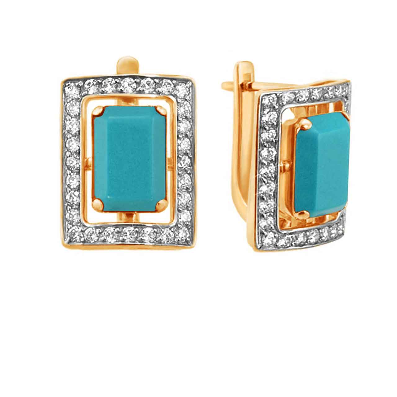 Turquoise gold earrings 1