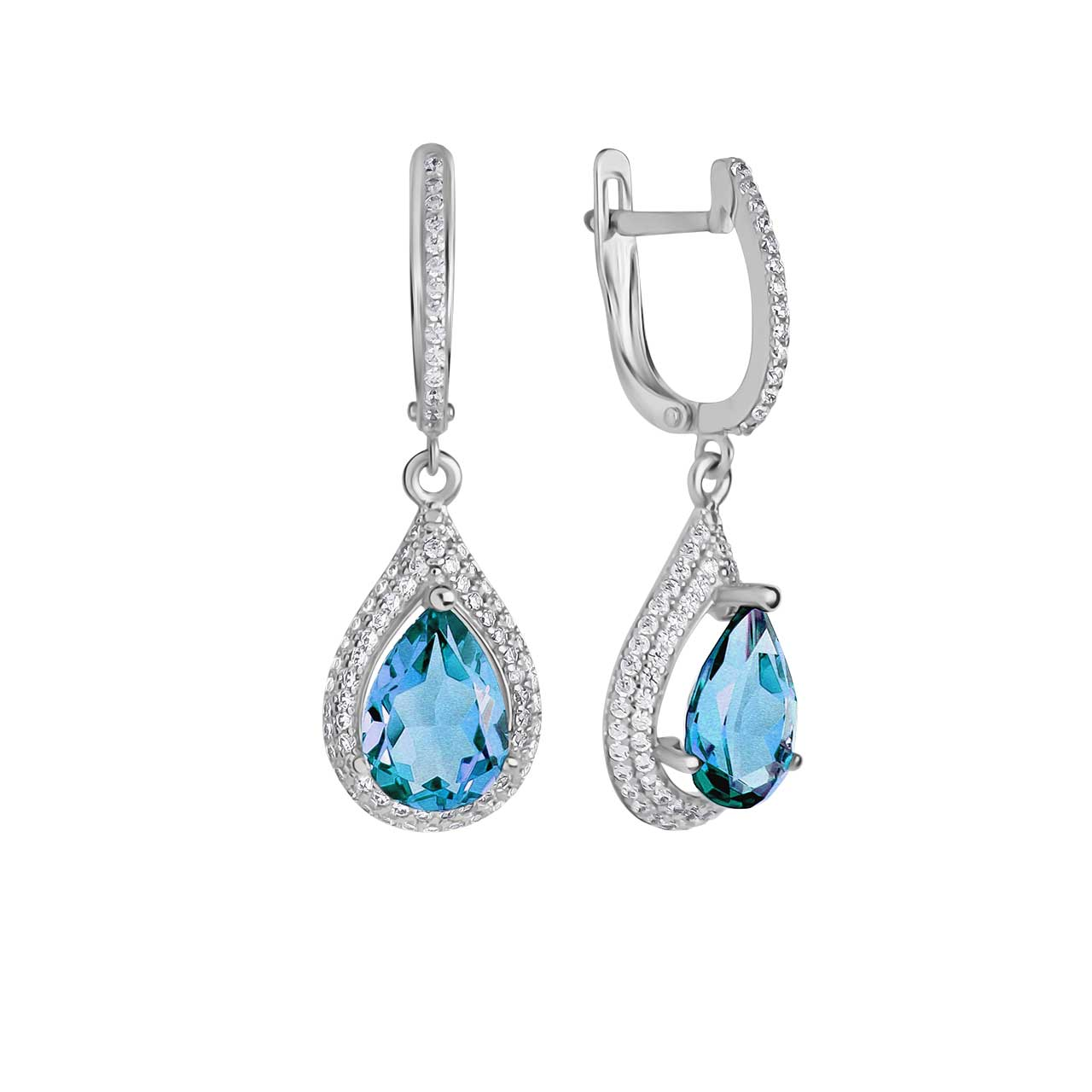 Blue topaz teardrop earrings 1