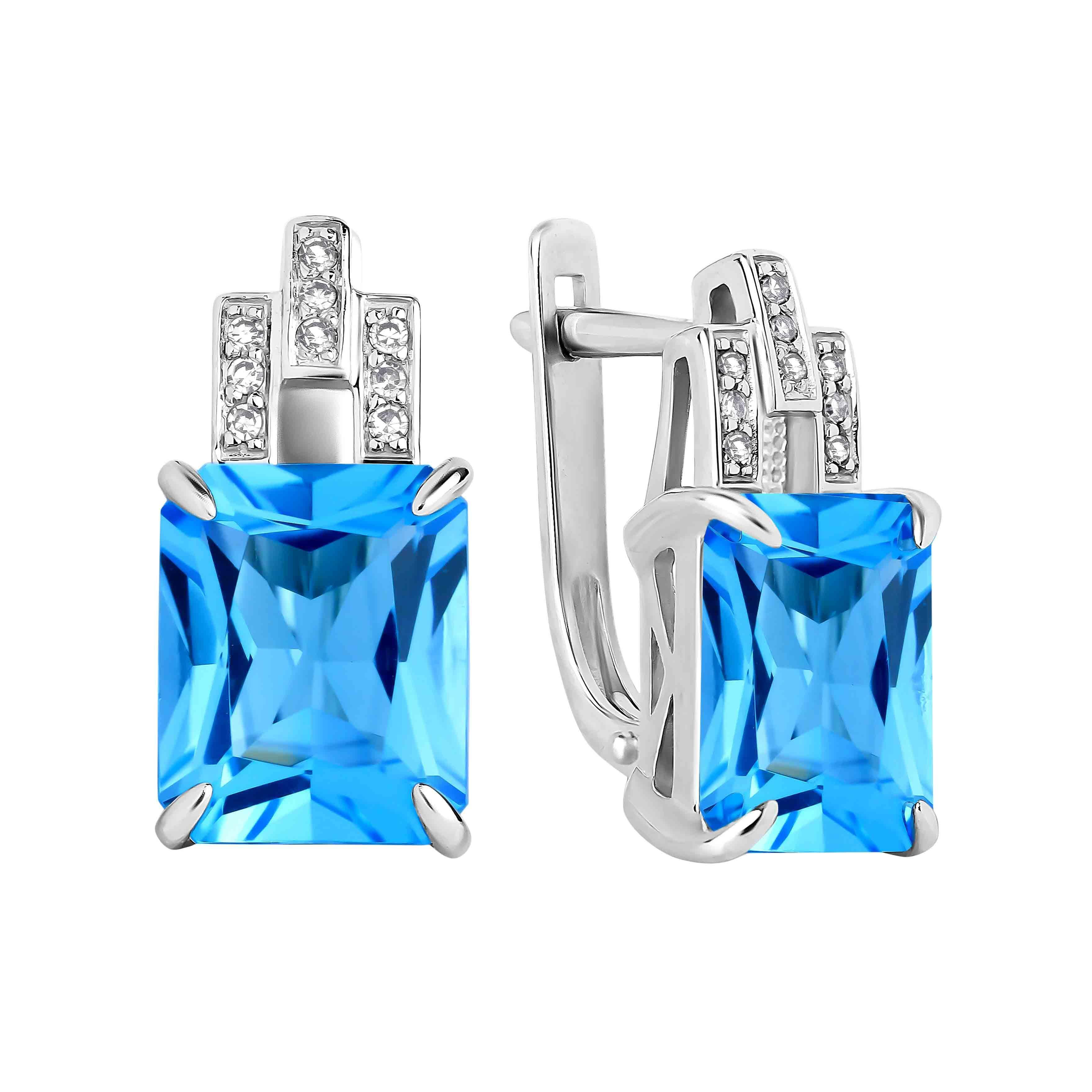 Emerald-cut Blue Topaz Diamond Earrings