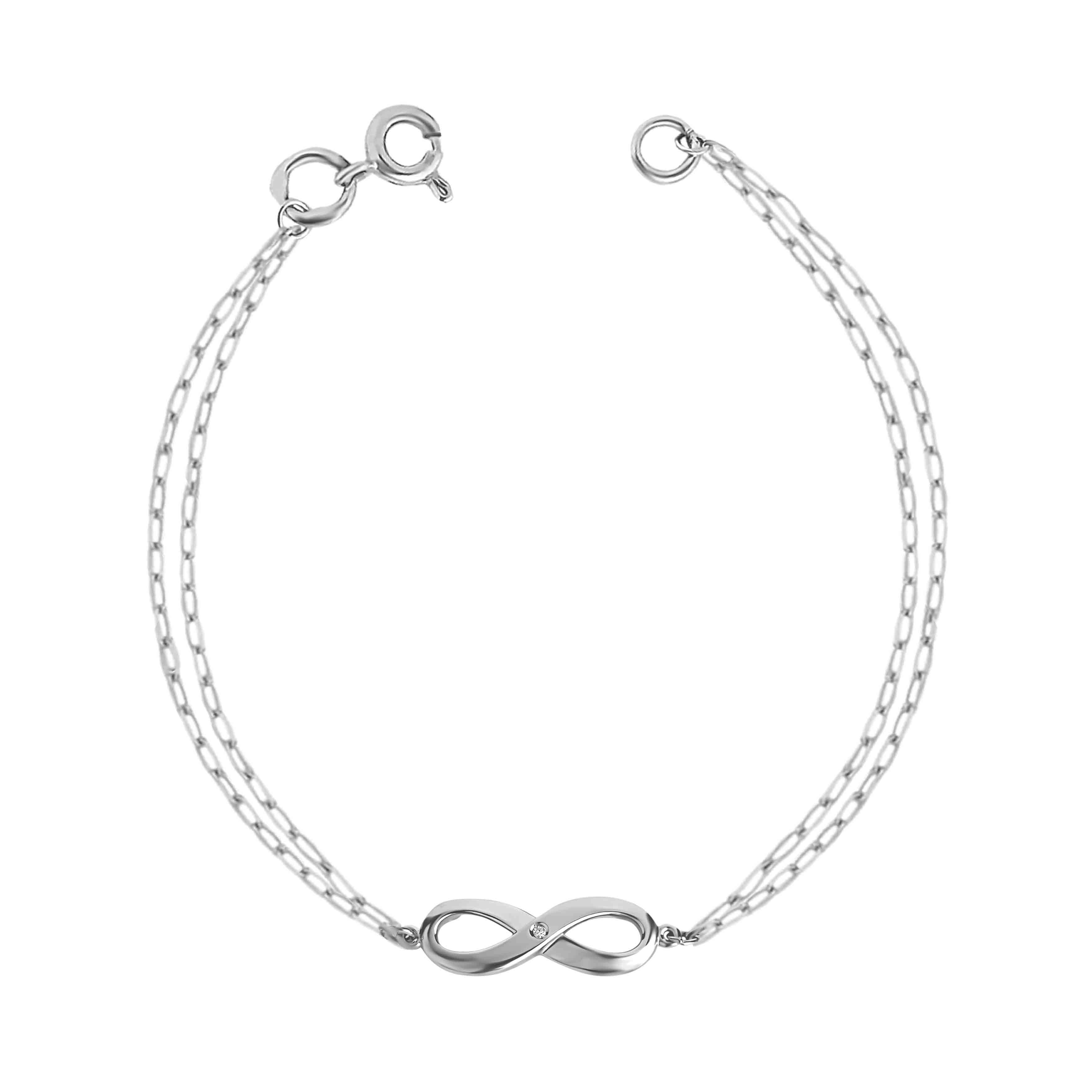 Diamond 'Infinity' bracelet in 14kt white gold. View 2