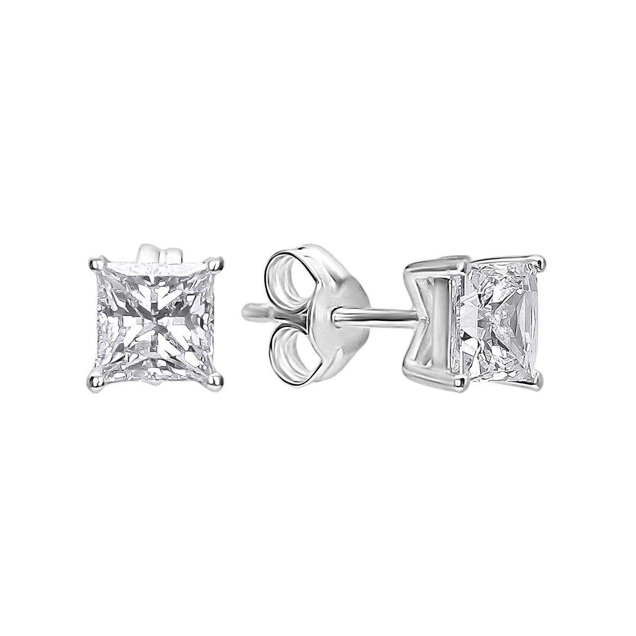 Princess-Cut CZ Stud Earrings