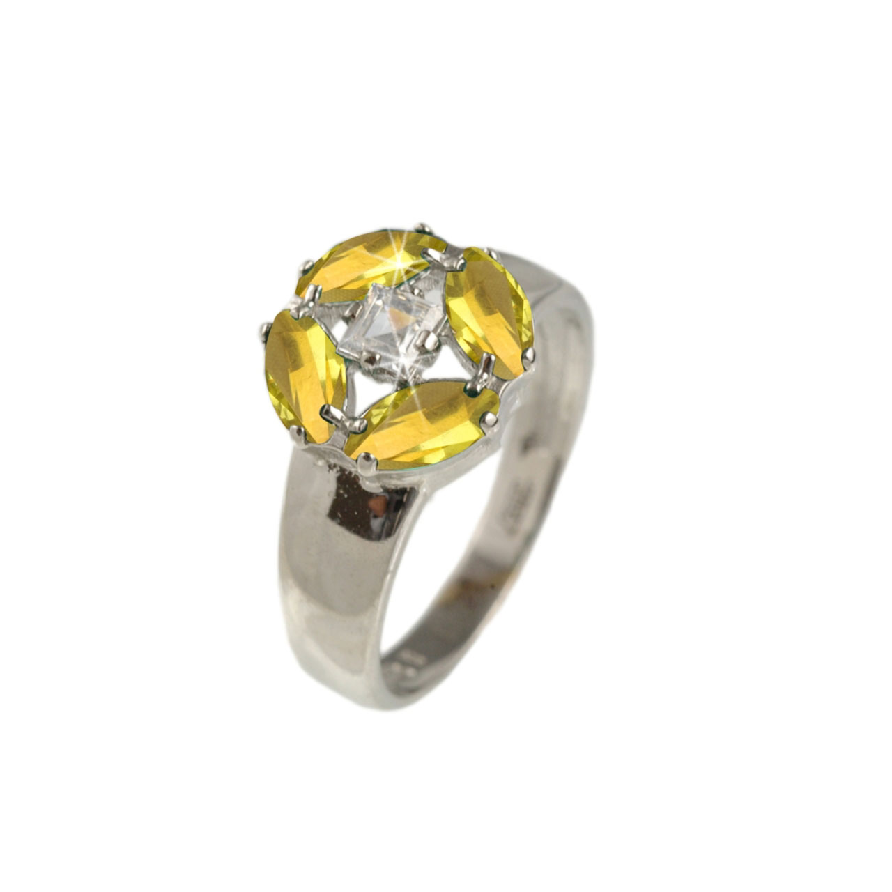 Citrine & CZ White Gold Ring