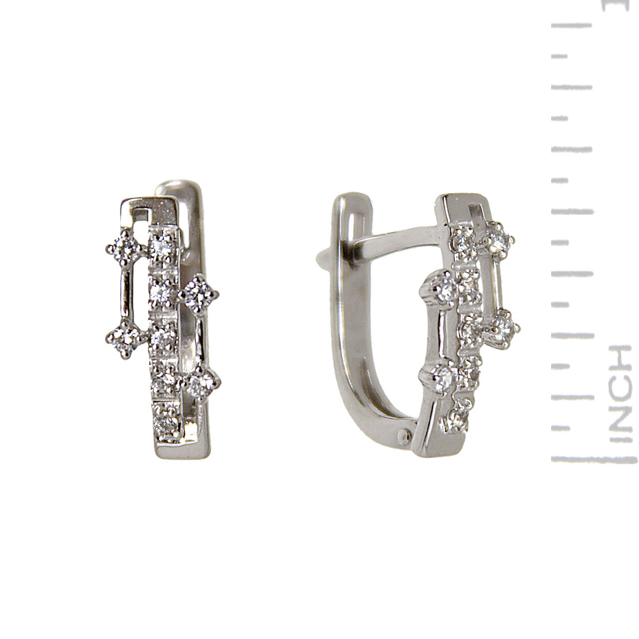 Futuristic Design White Gold Earrings