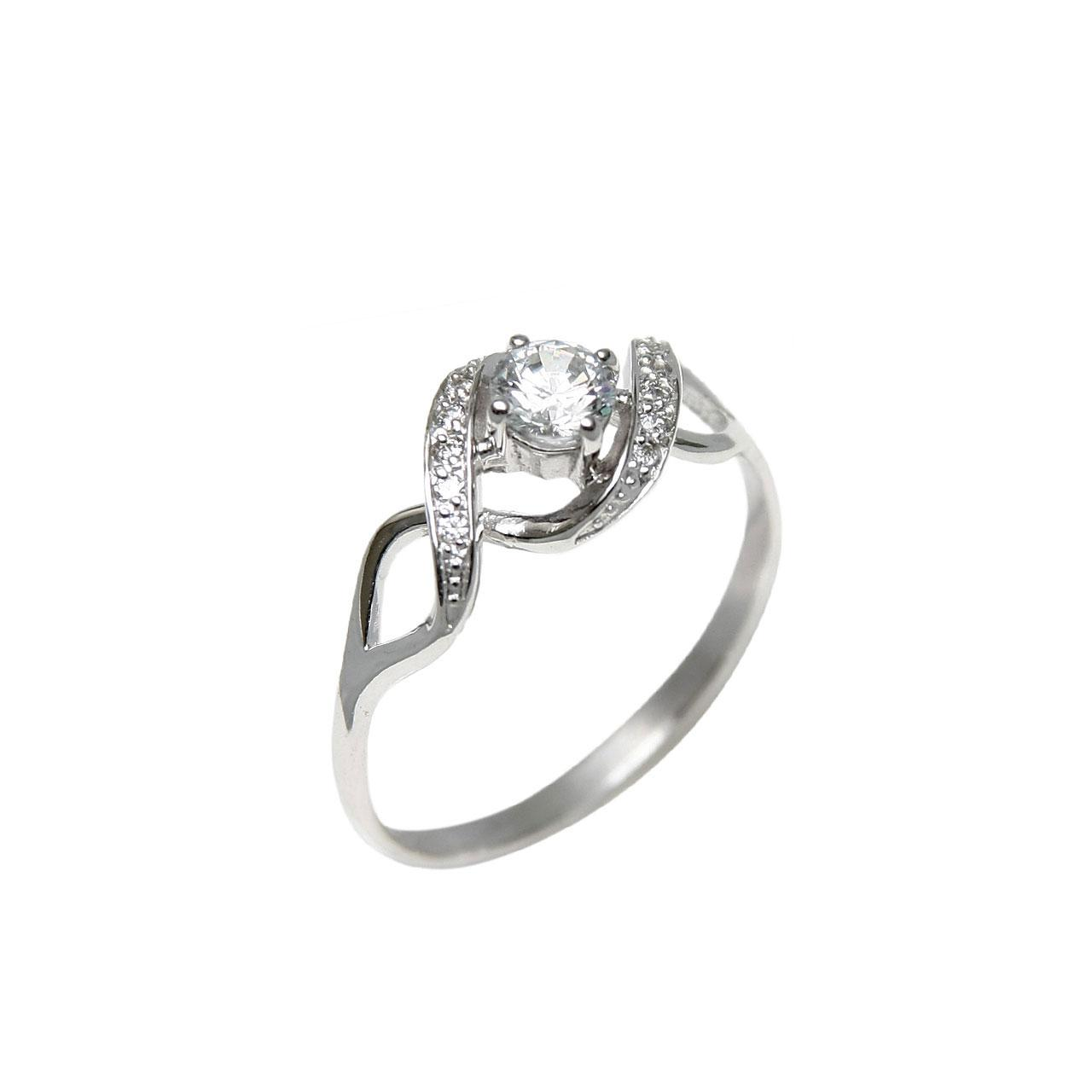 White gold CZ engagement ring 1