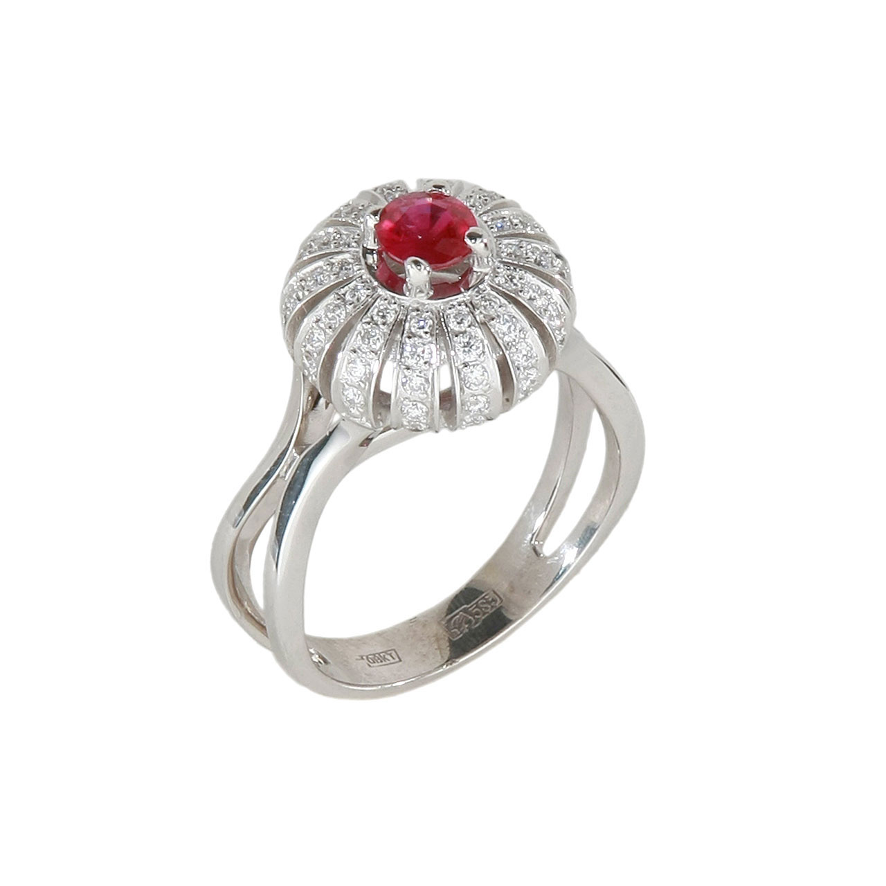 Burmese ruby double-shank ring 1