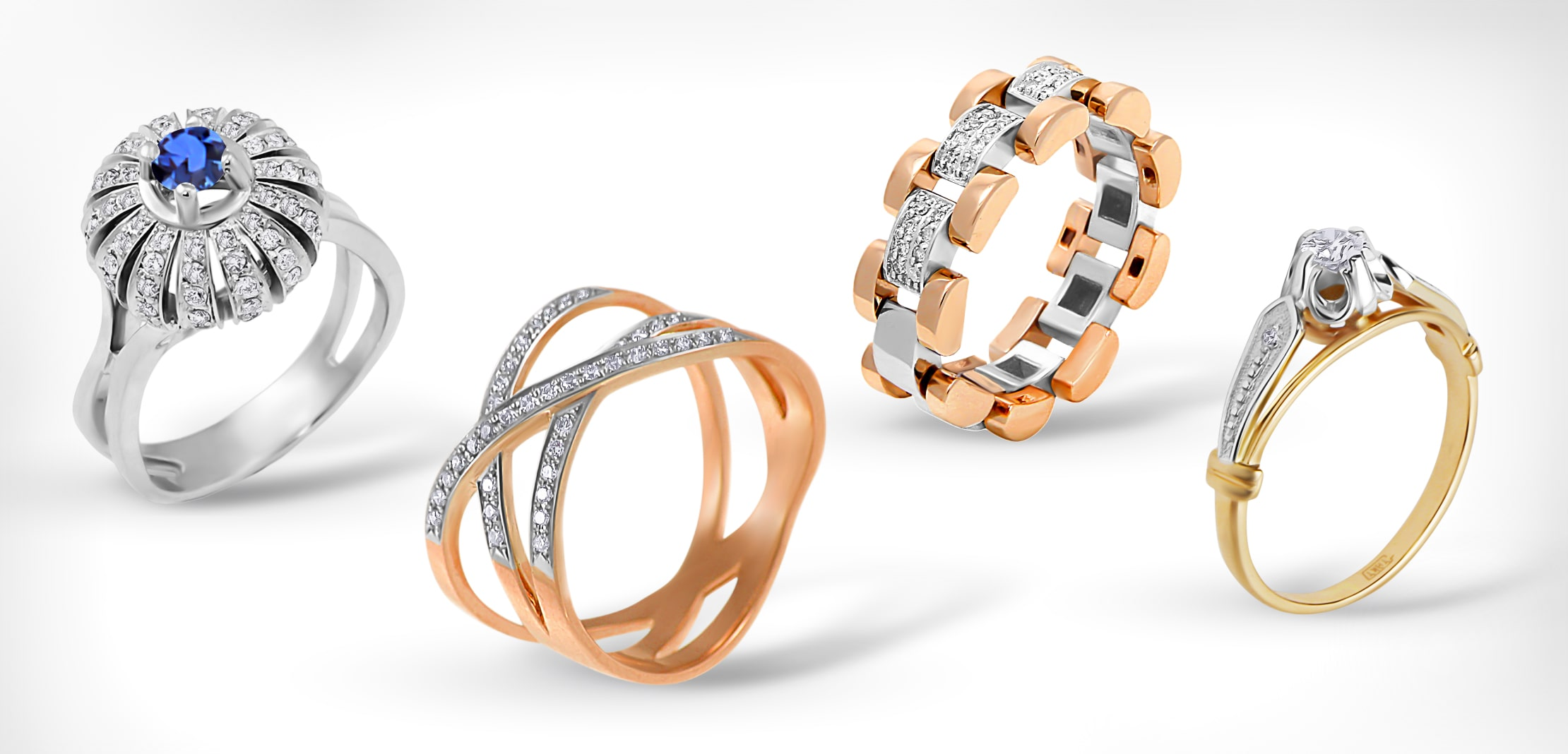 Diamond Rose and White Gold Rings
