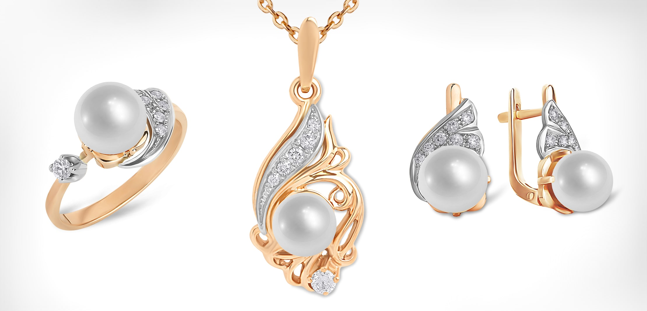 White Pearl Rose Gold Jewelry